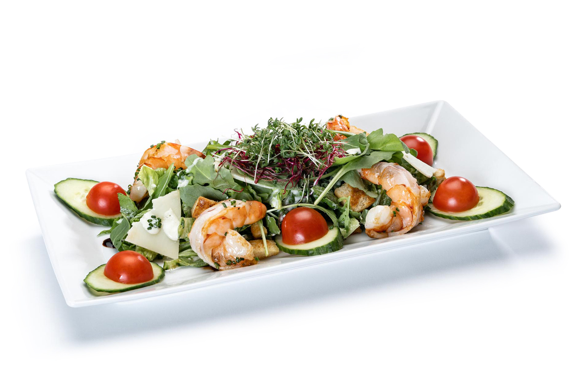 Casear Salad mit Garnelen